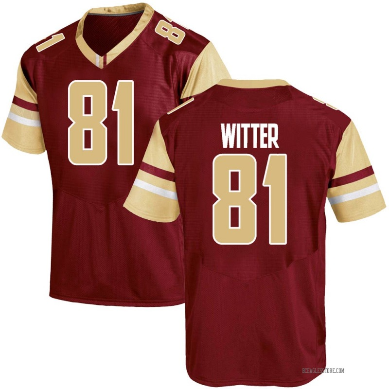 Game Men's Spencer Witter Boston College Eagles Maroon Team Color College Jersey